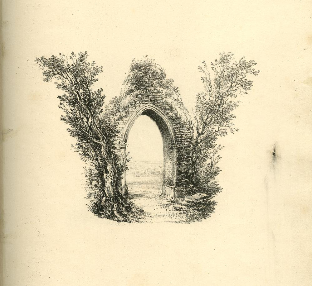 Series of 26 landscape scenes shaped as letters of the alphabet; rebound in a 20th-century binding. Letter A: upper part composed of three figures around a fire at the edge of a slope to small pond, forming the lower part of the letter; outline by trees. Letter B: a vista on level country, outlined by trees and branches and the edge of a rise with two figures as the bottom part of the letter. Letter C: a castle on cliffs on the left; waves of the sea shaping the lower curve, clouds the upper one. Letter D: a semi-circular landscape scence with mountains in right distance; a crag with trees shaping the left outline of the letter. Letter E: a ruinous gate, the right part of its arch broken, a tree on the left stretching to the right and two men standing on the right pointing at the ruin. Letter F: a tree trunk and two branches stretching to the right at the top and in the middle. Letter G: a country road winding in a curve to the right with a horse-and-cart at its end, and sided on the left with trees, their branches shaping the upper curve of the letter. Letter H: two rocks at a lake connected by a bridge crossed by a figure and a cow. Letter I: a country road with three figures, one on horseback, sided by trees as left outline, and meandering up to a castle as upper end of the letter. Letter J: bottom curve formed of a lake with two fishermen standing on the left, right outline shaped by a rock with small waterfalls and surmounted with trees stretching to the left. Letter K: two trees growing on each side of a river, crossing over it; surrounded with reed at the bottom forming the serifs. Letter L: a seascape with a cliff and flying gulls as left outline, the sea shaping the bottom outline, a sailingboat as serif on the right. Letter M: composed of willows and a spruce growing at a pond with ducks on the left; the branches growing into opposite directions outlining the two triangles of the letter. Letter N: composed of a triangular shaped ruin to left and a tree to 