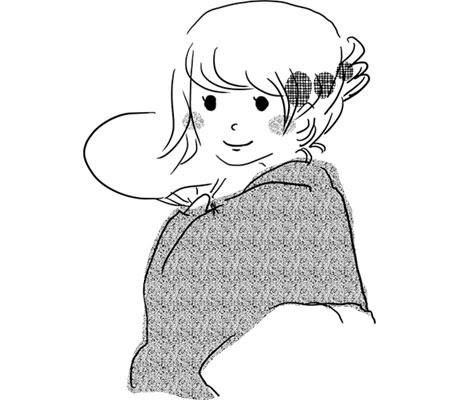 フリー素材 着物を着て髪を束ねた女性を描いたフリーイラスト夏祭り