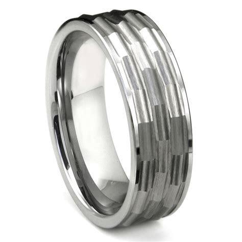 Tungsten Carbide Hammered Finish Flat Wedding Band Ring