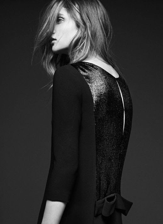 LE FASHION IMAGE SANDRO FW 2012 CAMPAIGN LOOKBOOK DRESS SHIMMER GLITTER BACK DETAIL BOWS MESSY LONG WAVY HAIR NATURAL BEAUTY CLEAN CLASSIC 7