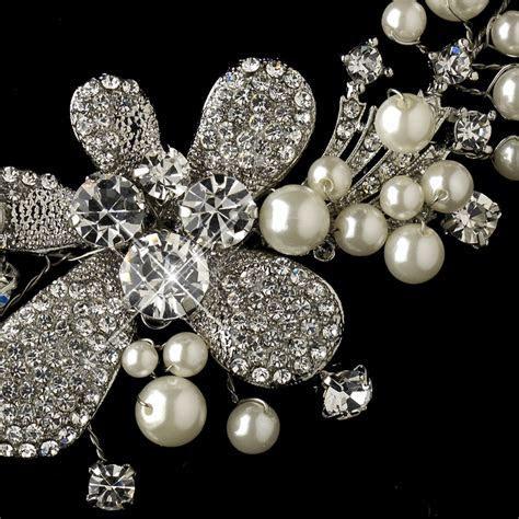 Antique Silver Diamond White Pearl & Rhinestone Necklace