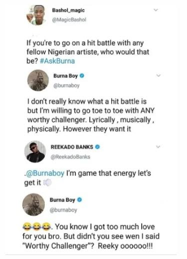 If You Could Battle Anyone With Hits, Who Would It Be?? – Korede Bello Blats Burna Boy