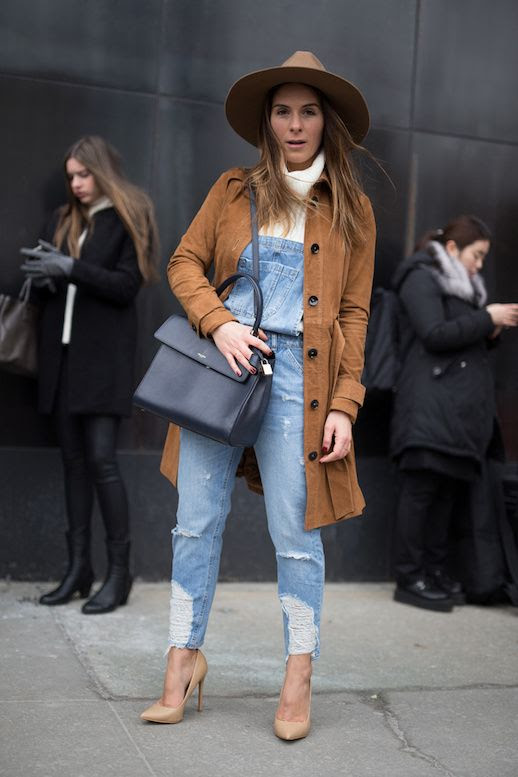 Le Fashion Blog Boho Chic Look Wide Brim Hat Cream Turtleneck Denim Overalls Black Bag Nude heels Suede Trench Coat Via Stylecaster