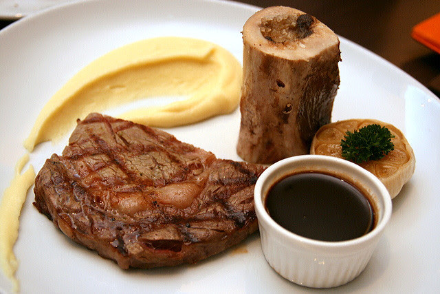 USDA Choice Ribeye, bone marrow, bordelaise sauce and mashed potato