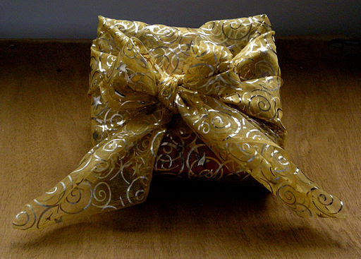 Furoshiki-wrapped Christmas gift