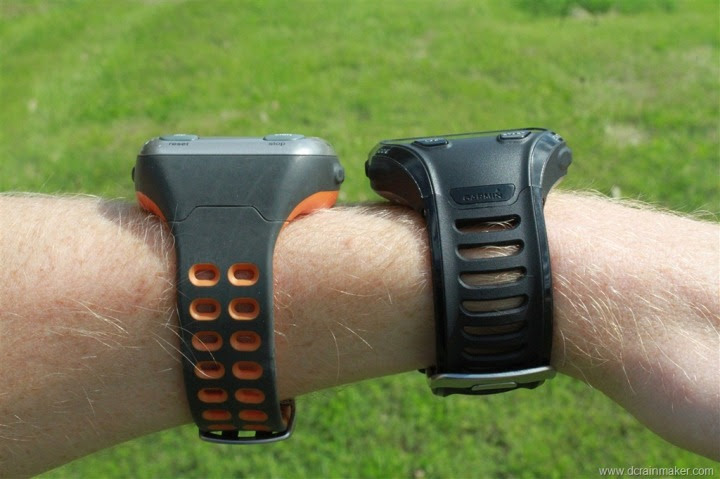 Garmin FR310XT and FR910XT on wrist size comparison