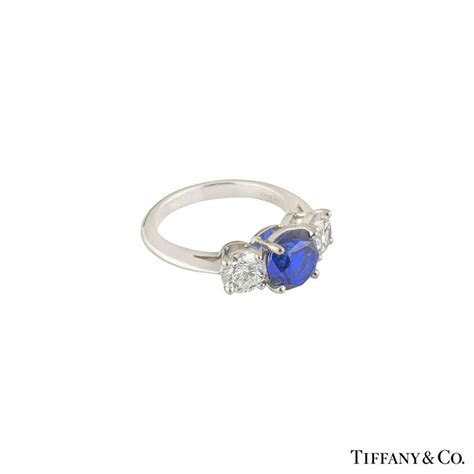 Tiffany & Co. Three Stone Diamond and Sapphire Platinum