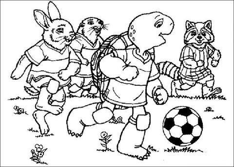 Dibujo De Franklin Jugando Al Fútbol Con Sus Amigos Para Colorear