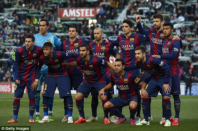 The Barcelona starting XI pose for a photo before taking on La Liga minnows Elche on Saturday evening