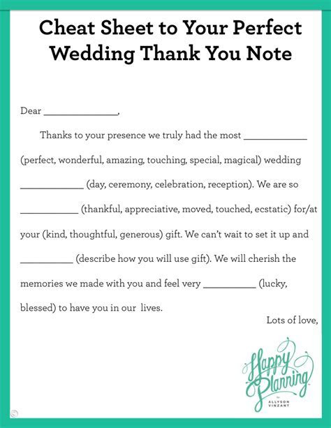 Cheat Sheet to Your Perfect Wedding Thank You Note