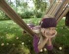 Handknitted girls earwarmer Purple knitted headband Earwarmer for toddler girls Warm spring headband