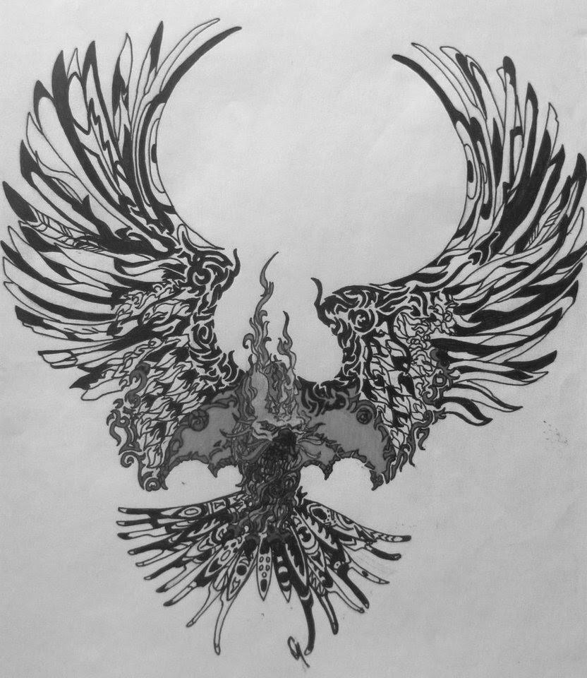 Grey And Black Open Wings Phoenix Tattoo Design