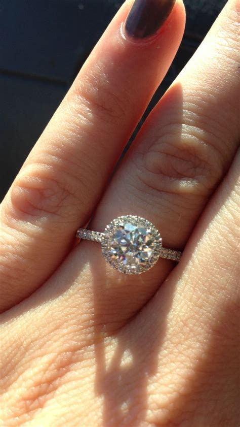 My ring :) round cut halo engagement ring   Pop the