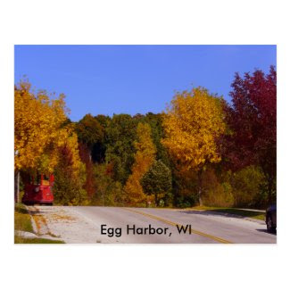 Egg Harbor, WI Fall Season & Trolley Car Postcard