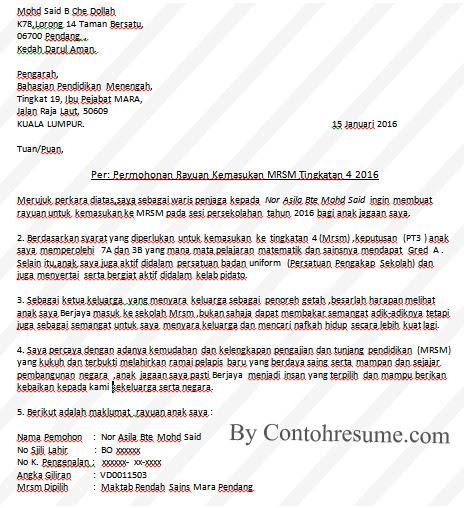 Contoh Surat Rasmi Rayuan — Contoh Resume