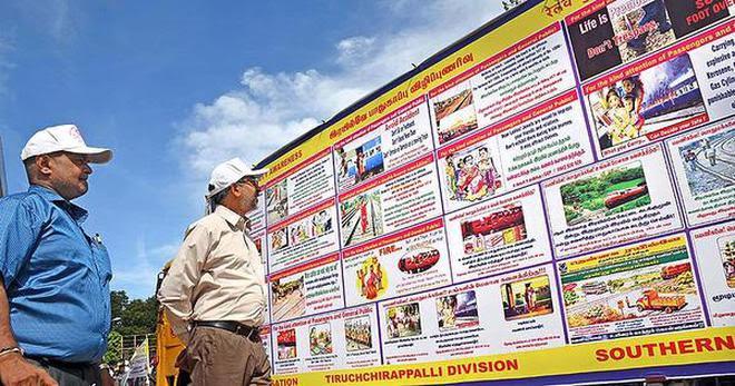 Uday Kumar Reddy, Divisional Railway Manager, Tiruchi, having a look at the safety propaganda vehicle in Tiruchi on Thursday.A.MuralitharanA_MURALITHARAN