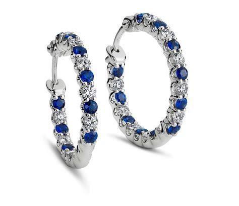 Luna Sapphire and Diamond Hoop Earrings in 18k White Gold