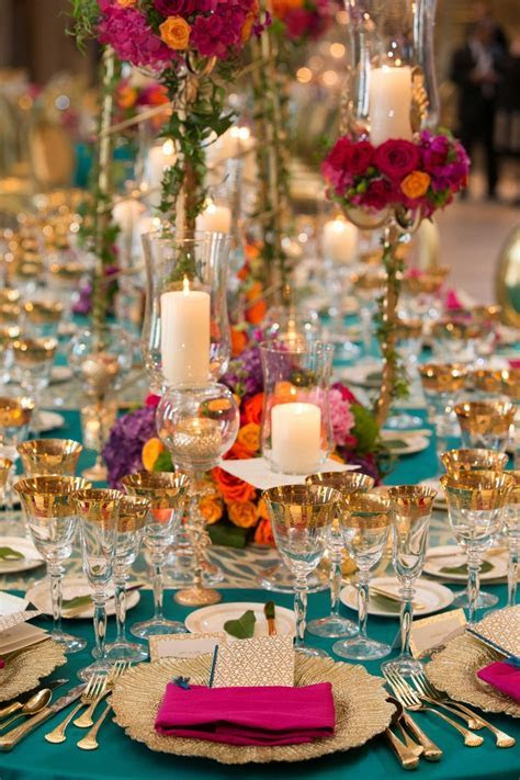 Reception Décor Photos   Bold and Colorful Table Setting