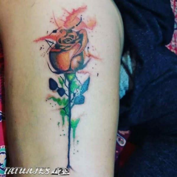 Rosa Acuarela Tatuajes 123