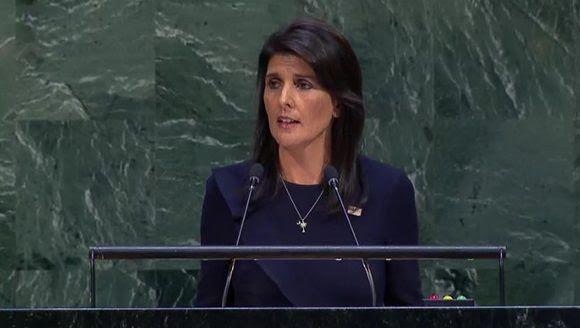 Nikki Haley durante su discurso en la ONU. Foto: Captura de pantalla/ @CubaMINREX/ Twitter.