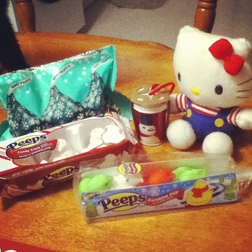This was such a wonderful surprise from @supergirlgeek #peeps #starbucks #hellokitty