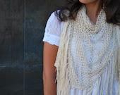 Shawl natural fine silk, crochet silk shawl, hand crochet shawl, handmade shawl, crochet beige shawl, wedding shawl, beach wedding shawl - SexyCrochetByOlga