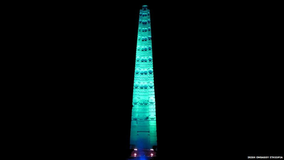 As part of the global campaign on St. Patrick's Day, March 17, 2015, the Axum Obelisks went Green. This year for the first time, the ancient Stelae in Aksum joined the list of famous landmarks worldwide going 'green' on Saint Patrick's Day. The ruins of the ancient city of Aksum are one of nine sites in Ethiopia which feature on UNESCO's World Heritage List and one of the country's major tourist sites. The Stelae (or obelisks)  are about 1,700 years old and are said to mark the burial chambers of the Kings of Aksum.The ruins of the ancient city of Aksum are one of nine sites in Ethiopia which feature on UNESCO's World Heritage List and one of the country's major tourist sites. The Stelae (or obelisks)  are about 1,700 years old and are said to mark the burial chambers of the Kings of Aksum.