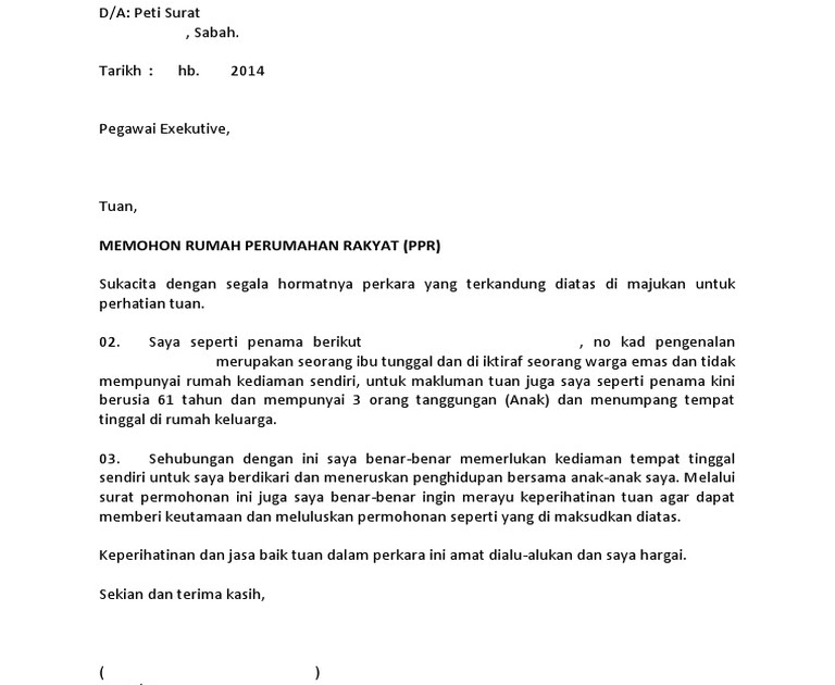 Contoh Surat Rayuan Rumah Ppr Persoalan M