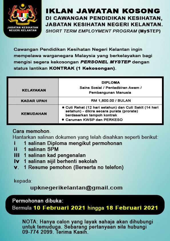 Iklan Jawatan Jabatan Kesihatan Negeri Kelantan • Portal ...