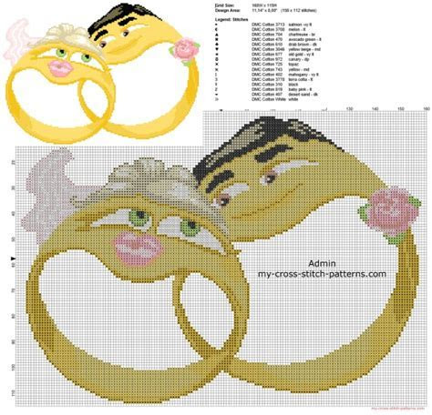Anniversary cross stitch pattern two wedding rings