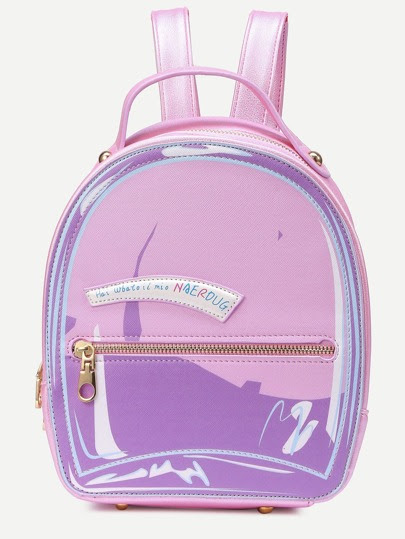 Pink Patch Zip Pocket Detail Backpack