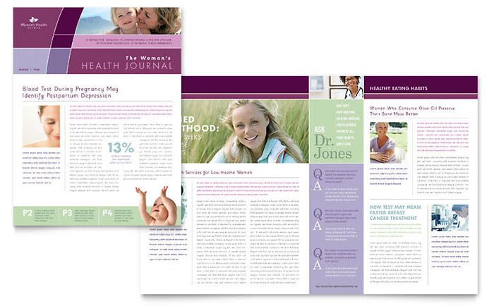 Women's Health Clinic Newsletter Template  Word amp; Publisher