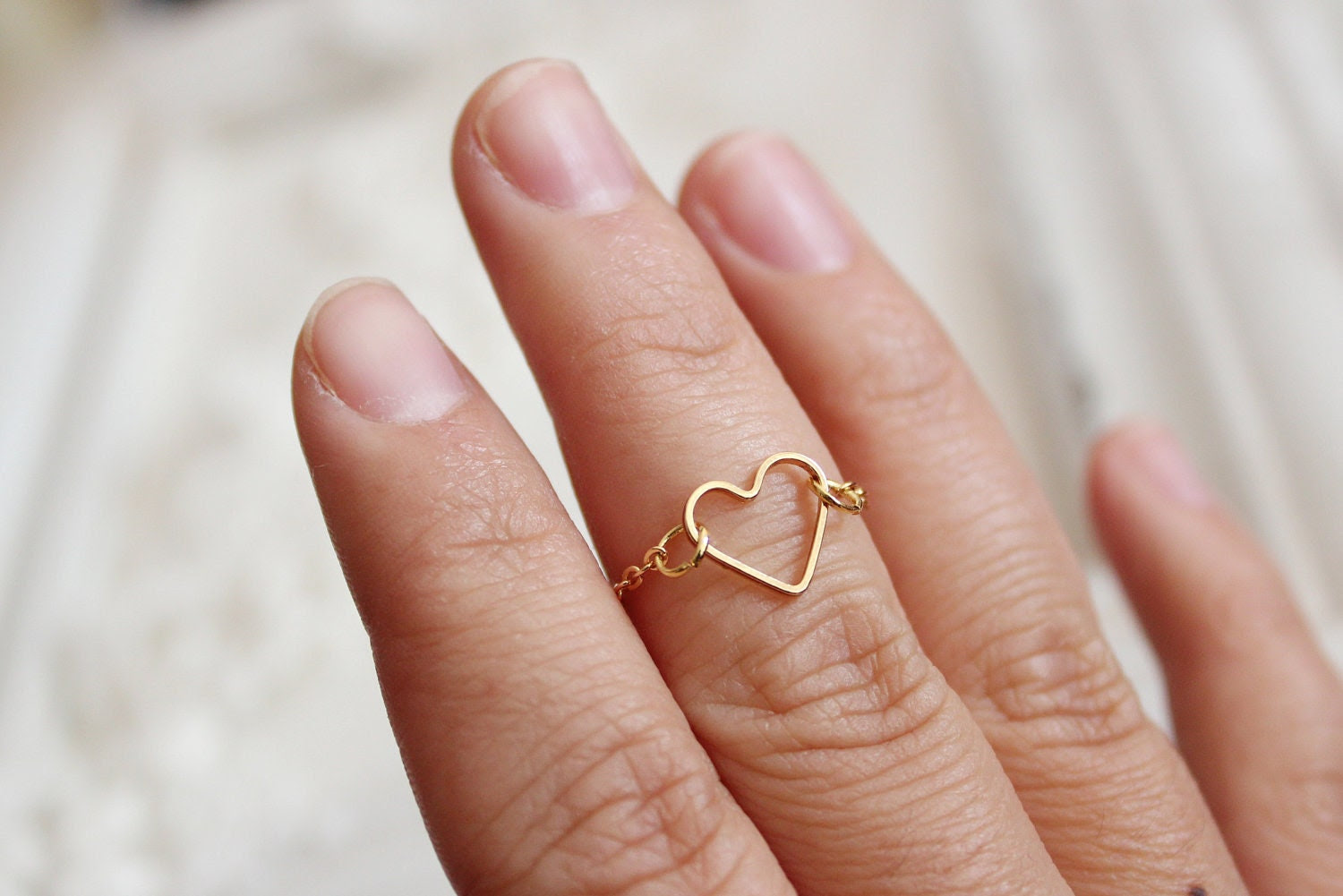 dainty gold heart ring  - gold heart above knuckle ring-gold heart dainty ring-bridesmaid gift