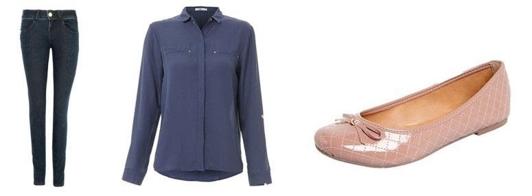 Calça jeans skinny por R$268 na Dafiti |Camisa por R$79,99 na Passarela | Sapatilha por R$89,90 na Dafiti