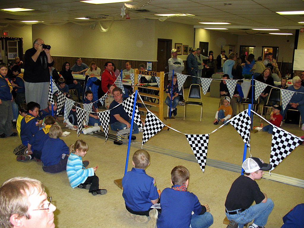 Pinewood derby finish line.