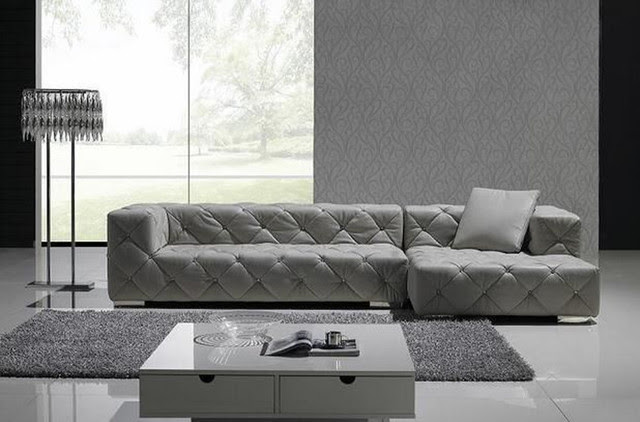 Exclusive Tufted 100% Italian Leather Sectional - contemporary
