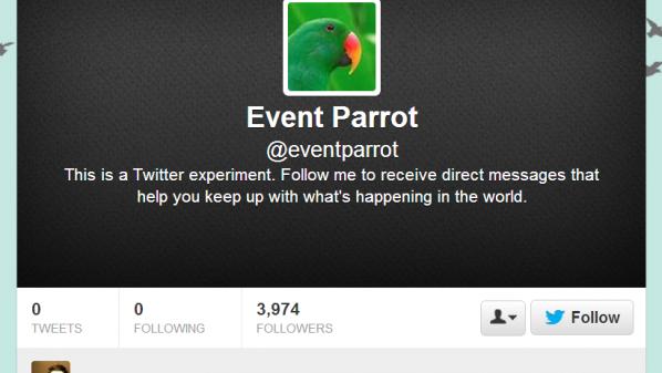 """أطلق الموقع على الحساب الجديد اسم """"ببغاء الأحداث"""" (Event Parrot)."""