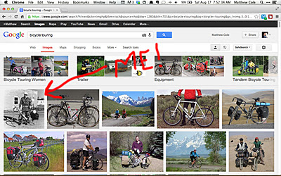 For a while, a photo of me was the top hit on Google if you searched for 'bicycle touring'!