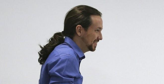 El secretario general de Podemos, Pablo Iglesias, antes de comparecer ante los medios de comunicación en la sede del partido, en Madrid. EFE/Ballesteros