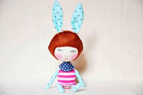 Bunny head handmade doll ANGRY GIRL 2