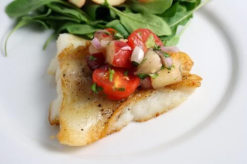 Halibut with Tomato Nectarine Salsa