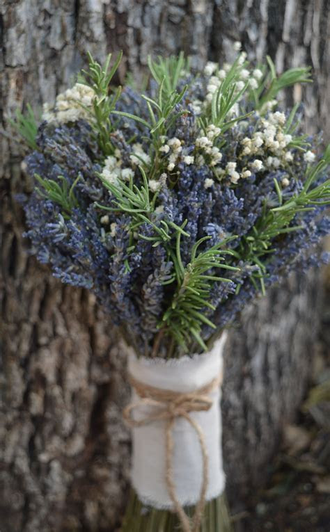Fresh Rosemary with dried Lavender and Baby's breath   The