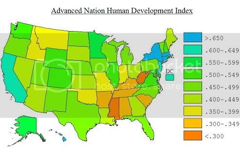 Advanced Nation Human Development Index Map of the United States