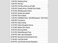 HELP! Feedback on my reception timeline??   Weddingbee