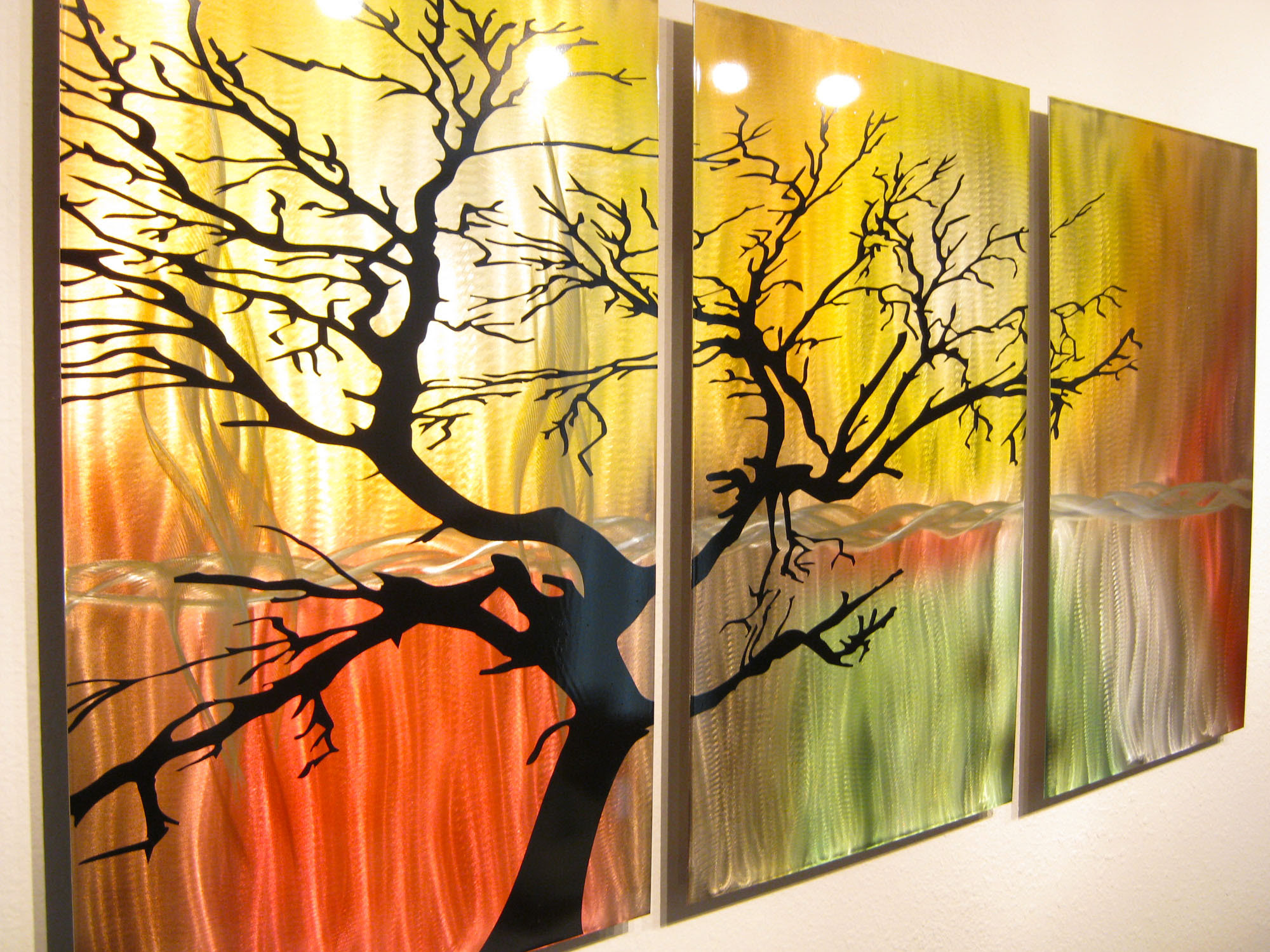 Tree in Silhouette- Metal Wall Art Contemporary Modern ...