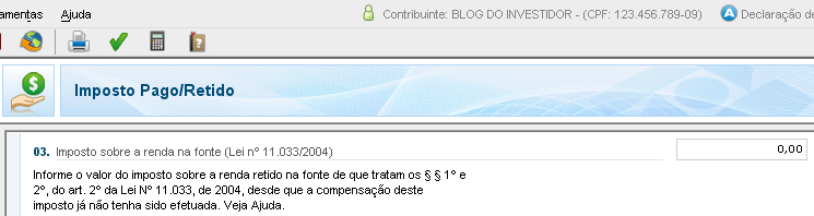 "IRPF 2012 - Imposto Pago/Retido - IRRF ""dedo-duro"" nas Ações"
