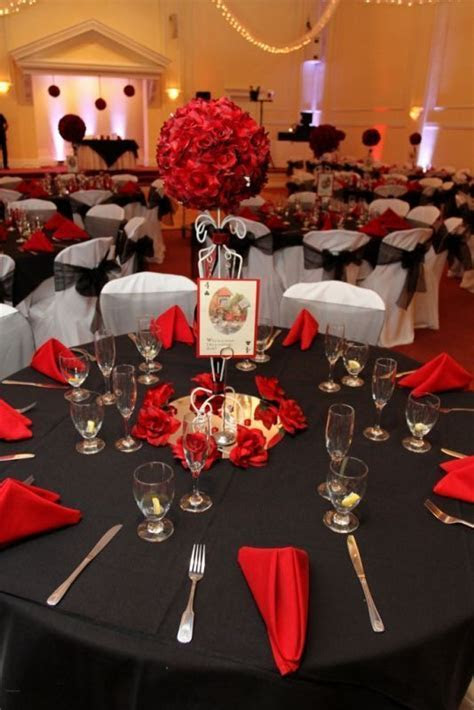 red black and white alice in wonderland wedding