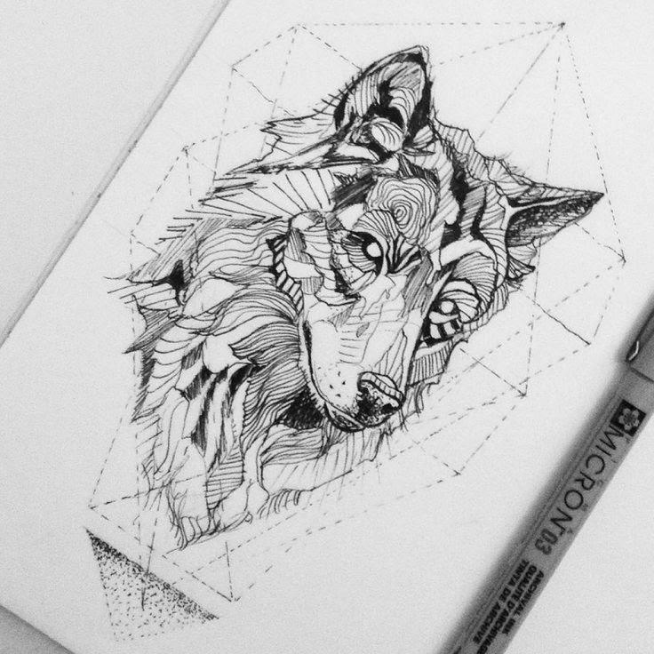 Geometric Wolf Head Tattoo Design