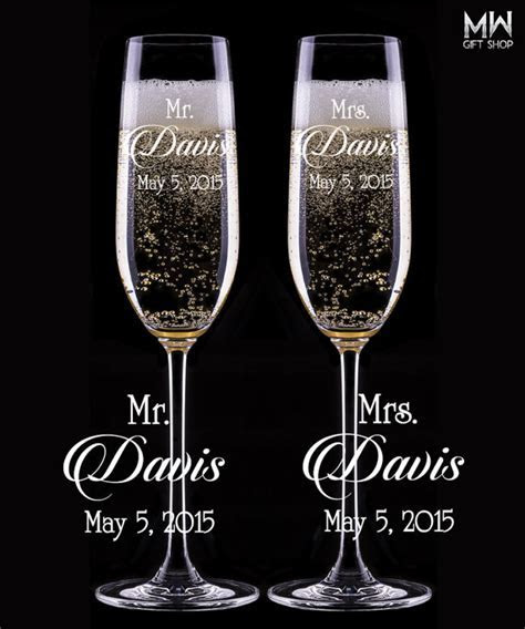 Custom Wedding Champagne Glasses, Engraved Champagne
