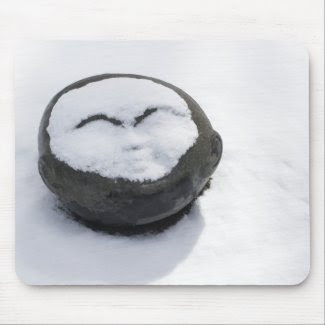 Happy Buddha With Snow Facial Mousepads